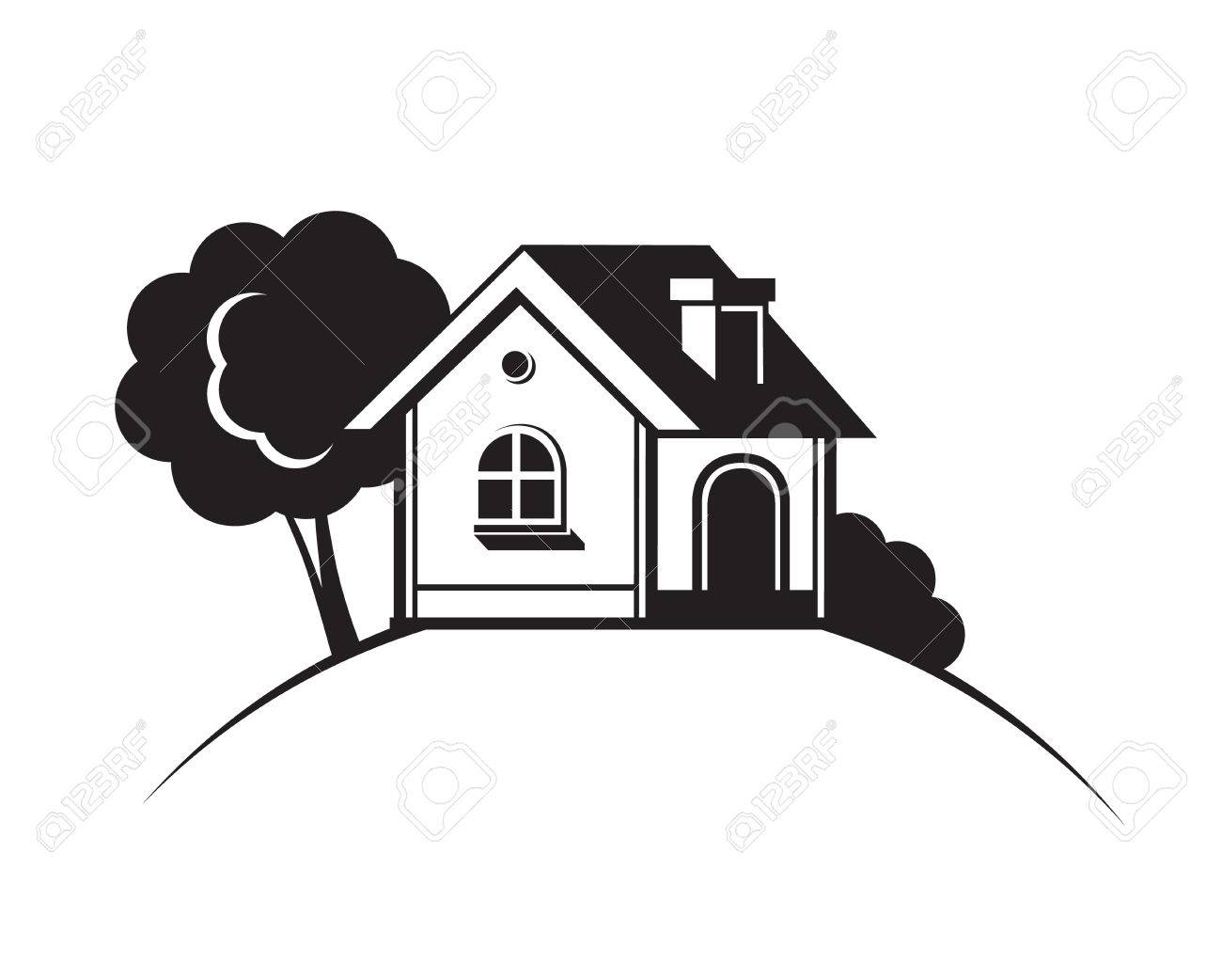 6416e5ca8ad3 Black house front icon, on white background. Vector illustration Stock  Vector - 75552043
