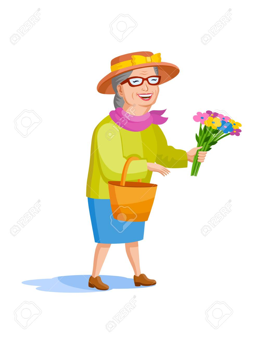 A Smartly Dressed Old Lady In A Hat And A Bouquet Of Flowers