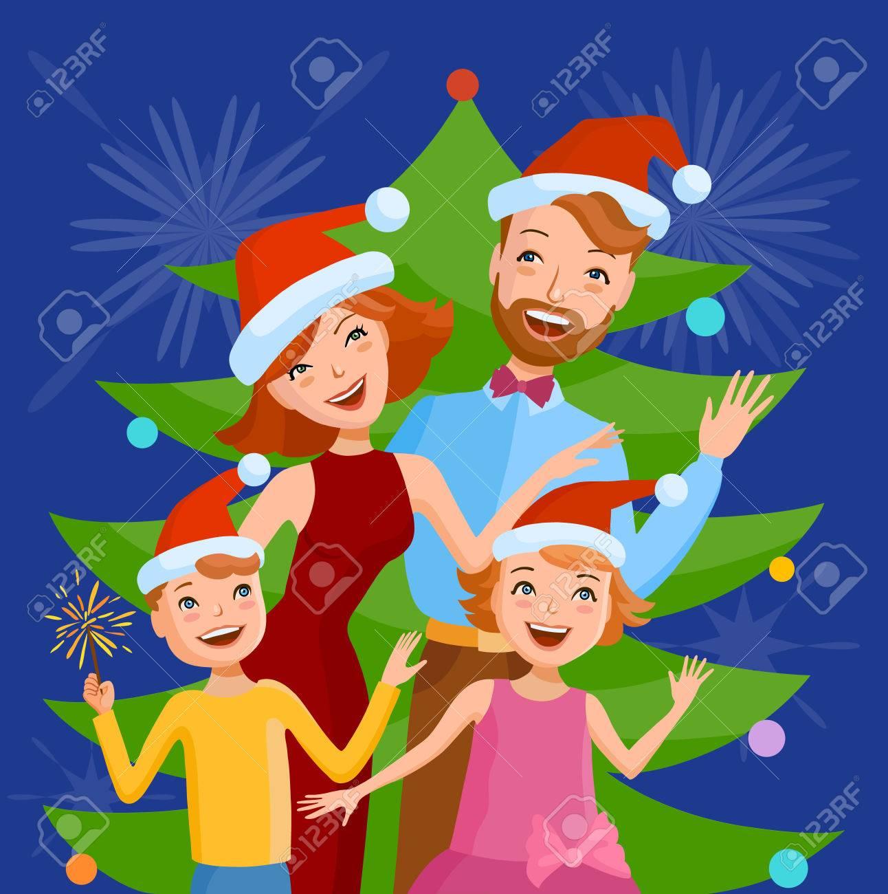 Mother Christmas Cartoon.Cute Cartoon Family Celebrates The New Year In A Santa Claus