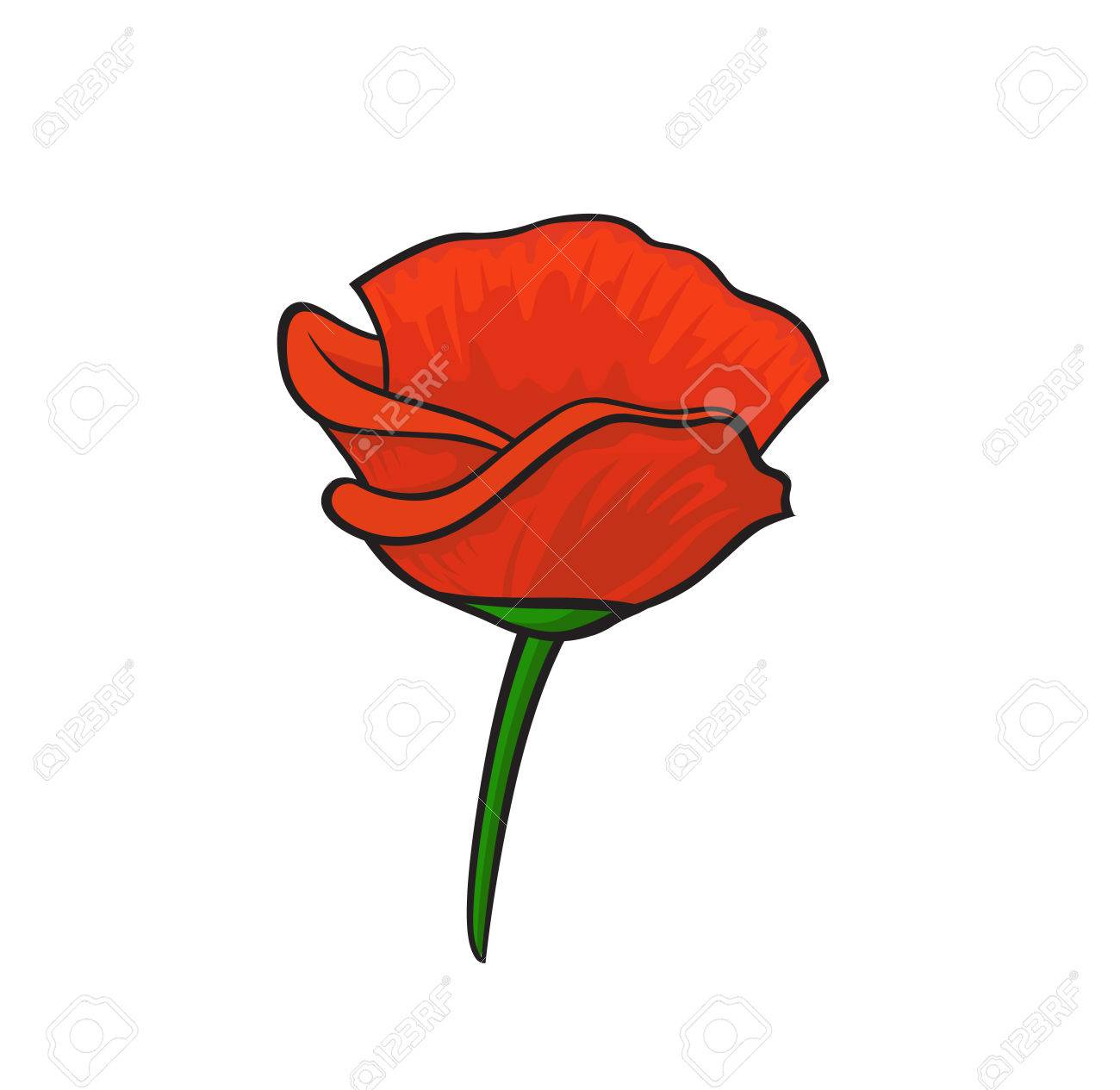 Fashion Pop Art Style Red Poppy Patch Badge Vector Sticker