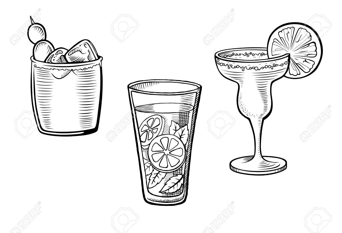 Set of alcoholic cocktails hand drawn vector illustrations  Vintage