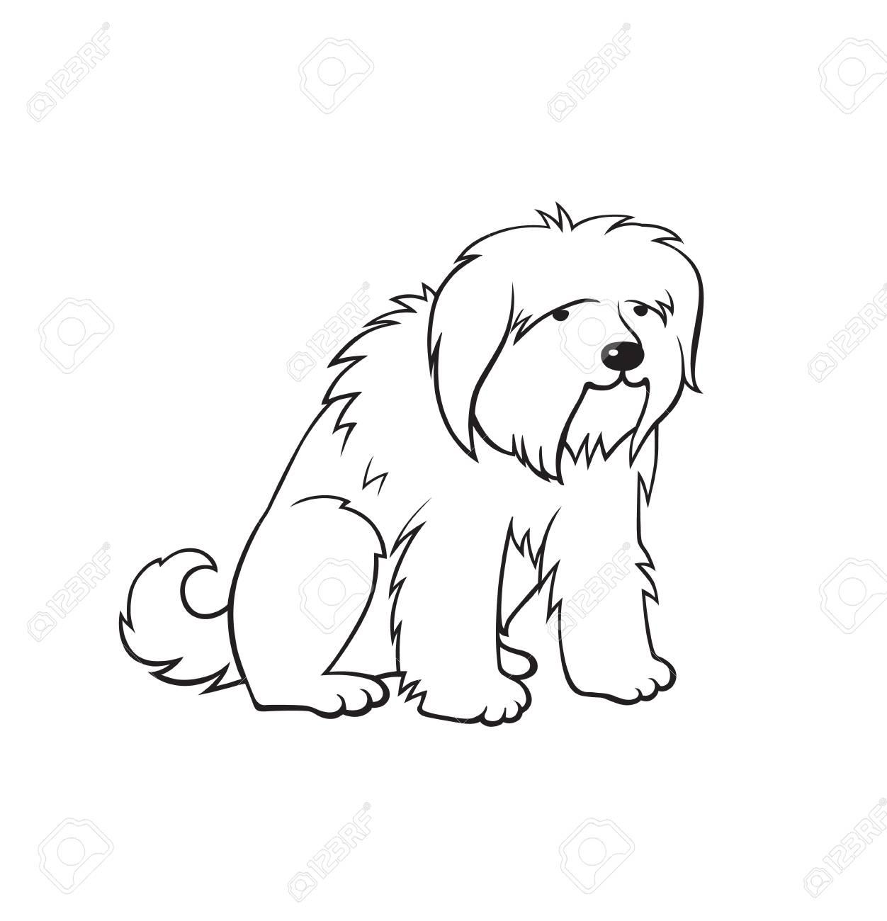 Cartoon Cute Big Dog Monochrome Illustration For Perfect Card