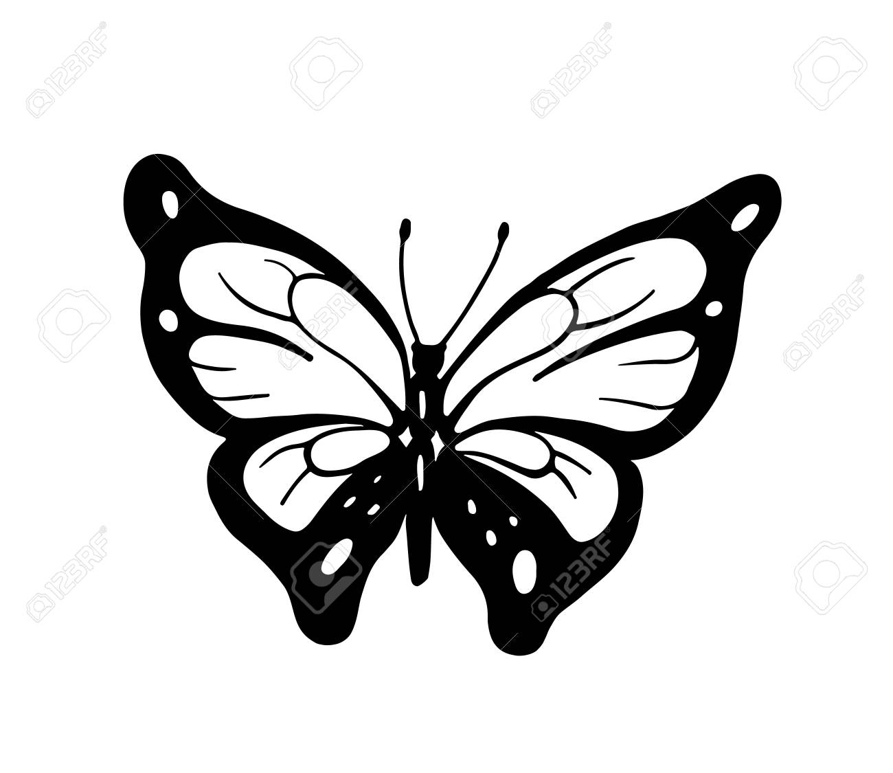 Abstract Decorative Butterfly Hand Drawn Illustration For Greeteng