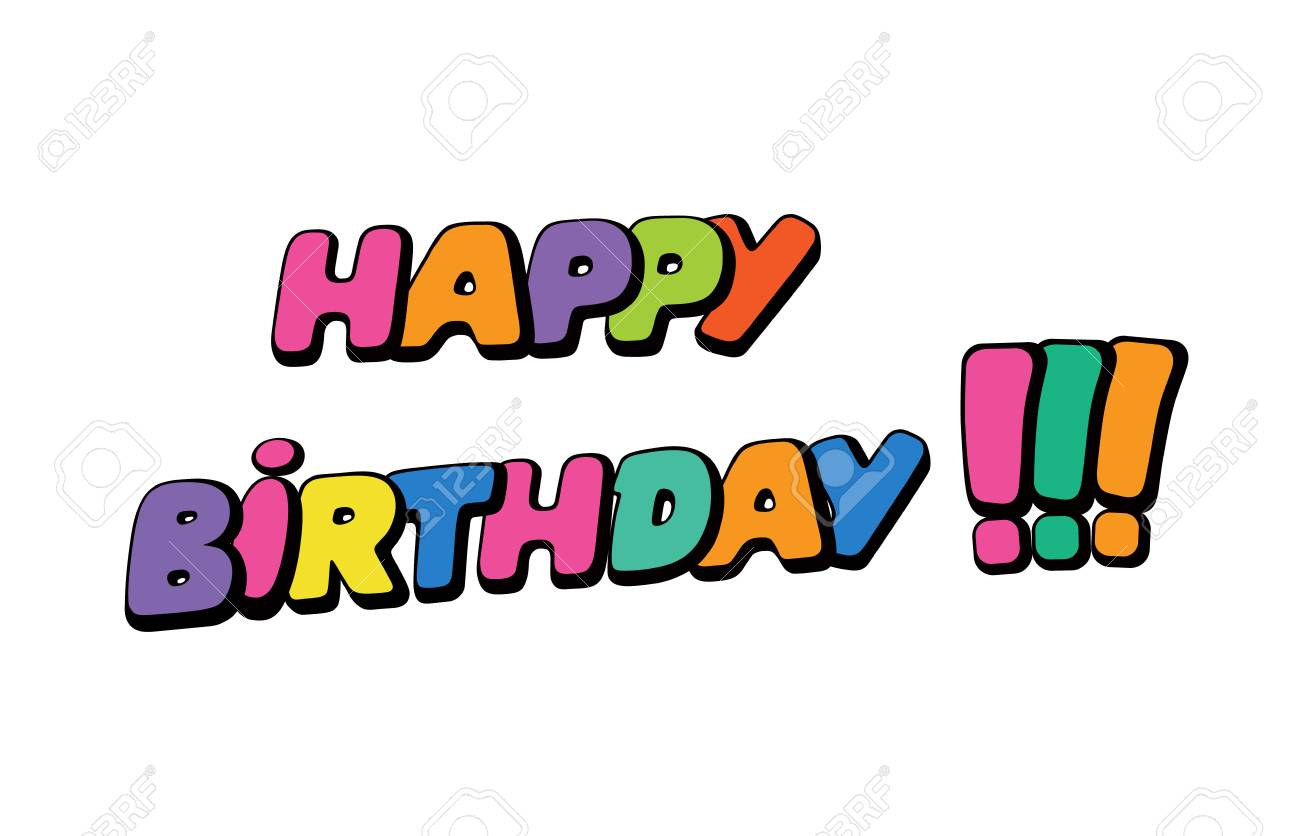 happy birthday words in speech bubble patch badge comic book