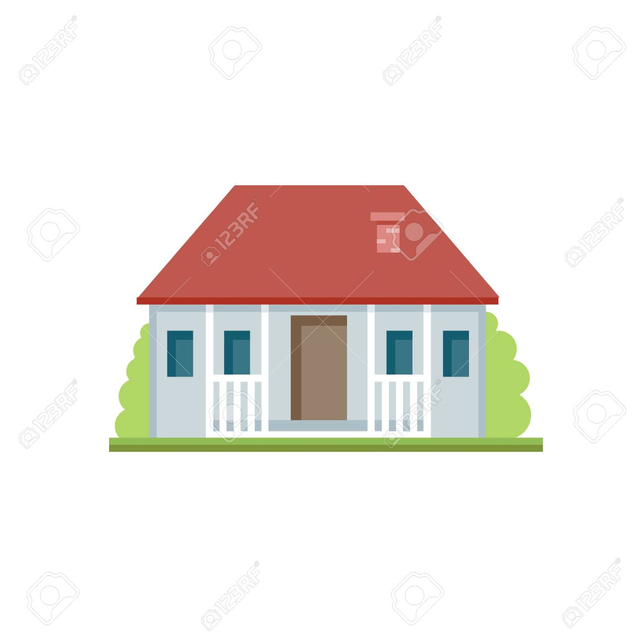 Flat colorful house front icon. Cottage with grey walls. Modern.. on front of house storage, front of house trees, front of house landscaping, front of house awards, front of house signs, front of house decor, front of house lighting,