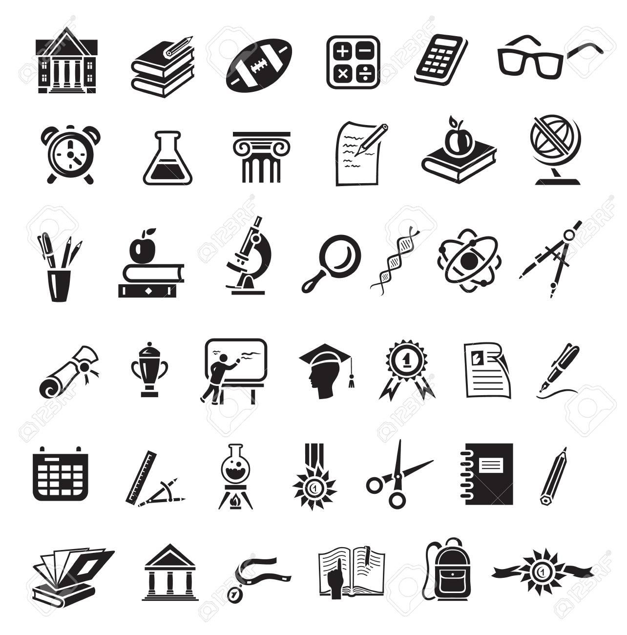 Education icon set in minimalist style. Black sign on white background. Books, globe, dna, scissors, bal, retort, beaker, calculator, cup winner, alarm clock, apple, spectacles - 108574061