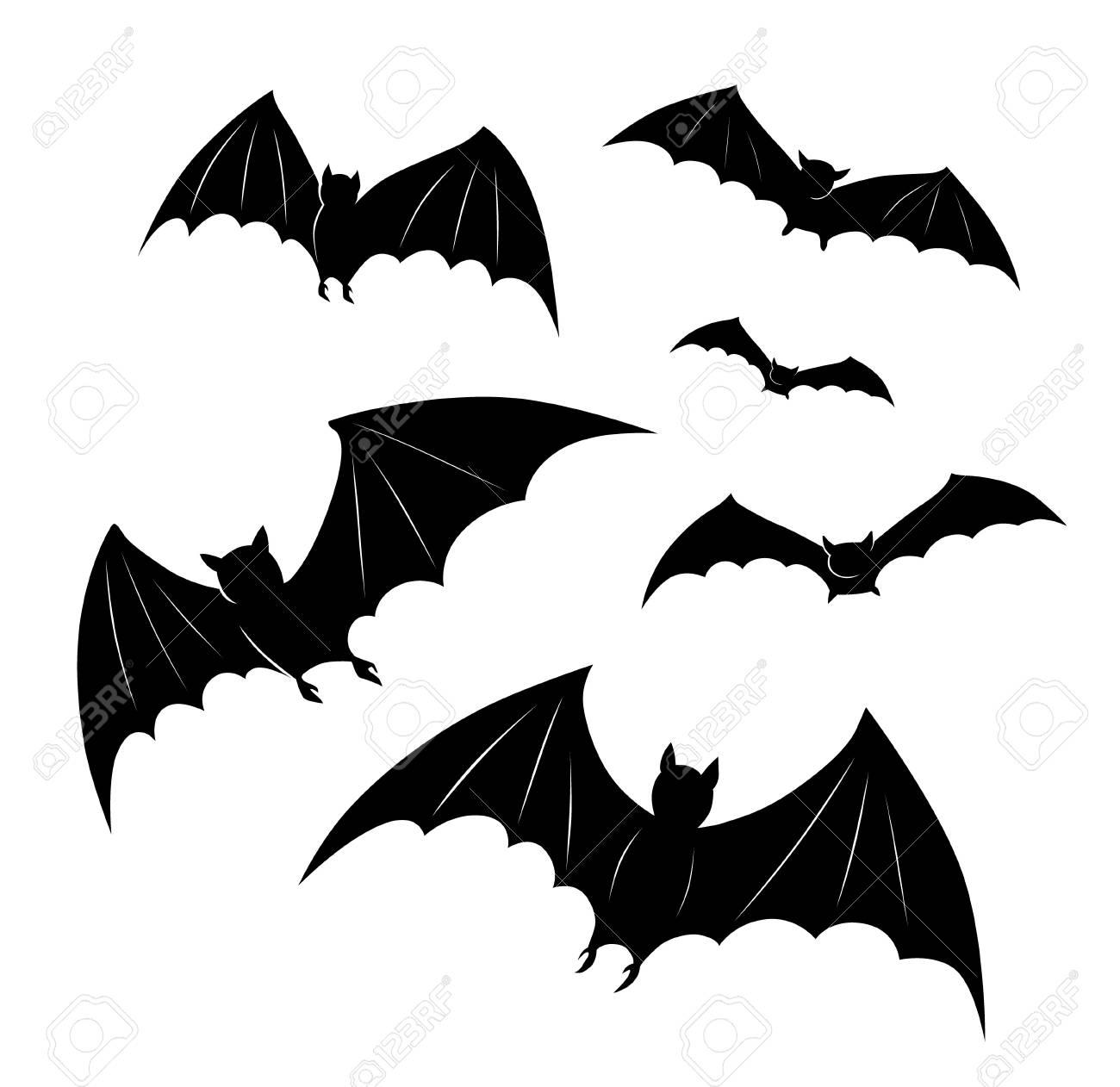 A Picture Of A Cartoon Bat halloween cartoon bats flying. all saints' eve black vector illustration..