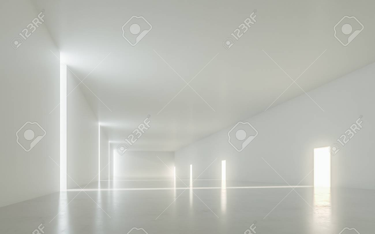Illuminated corridor interior design d rendering royalty vrije