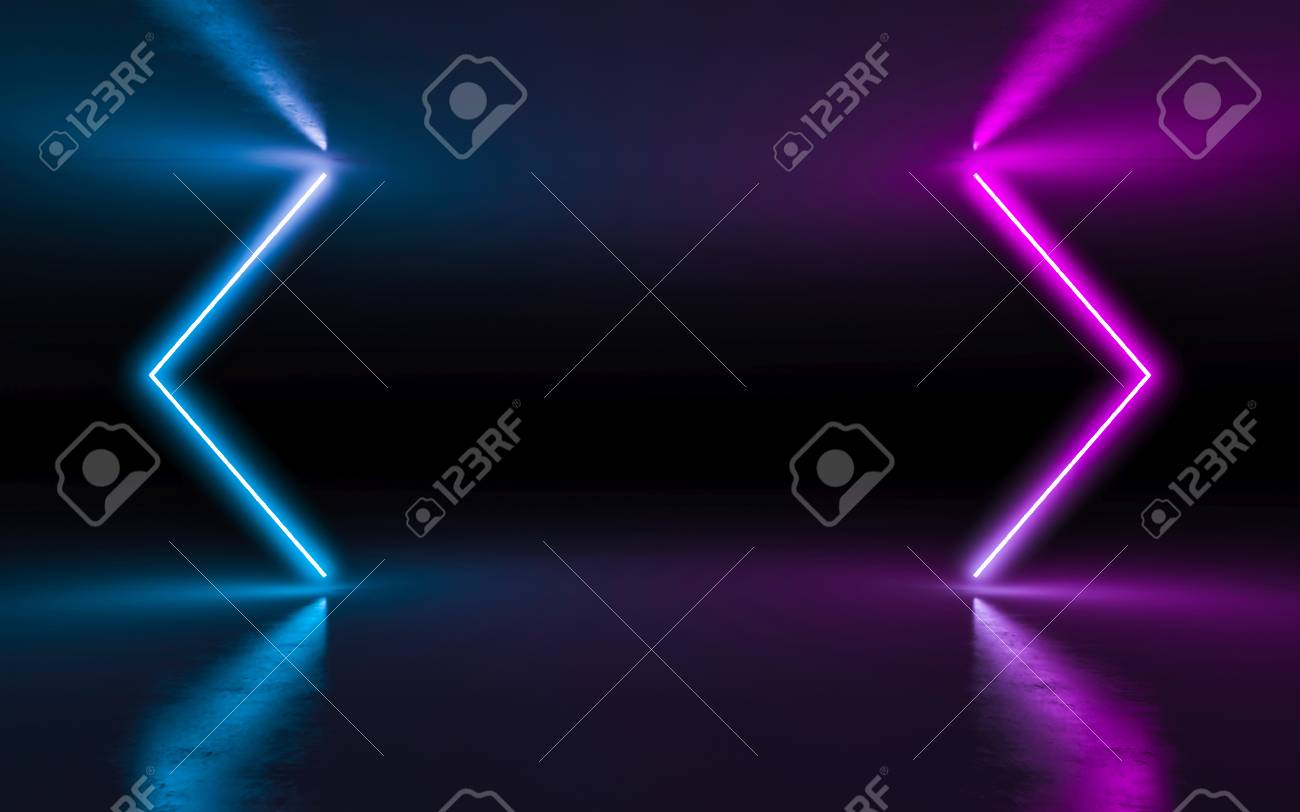 Abstract Background Purple And Blue Neon Glowing Lights In Empty