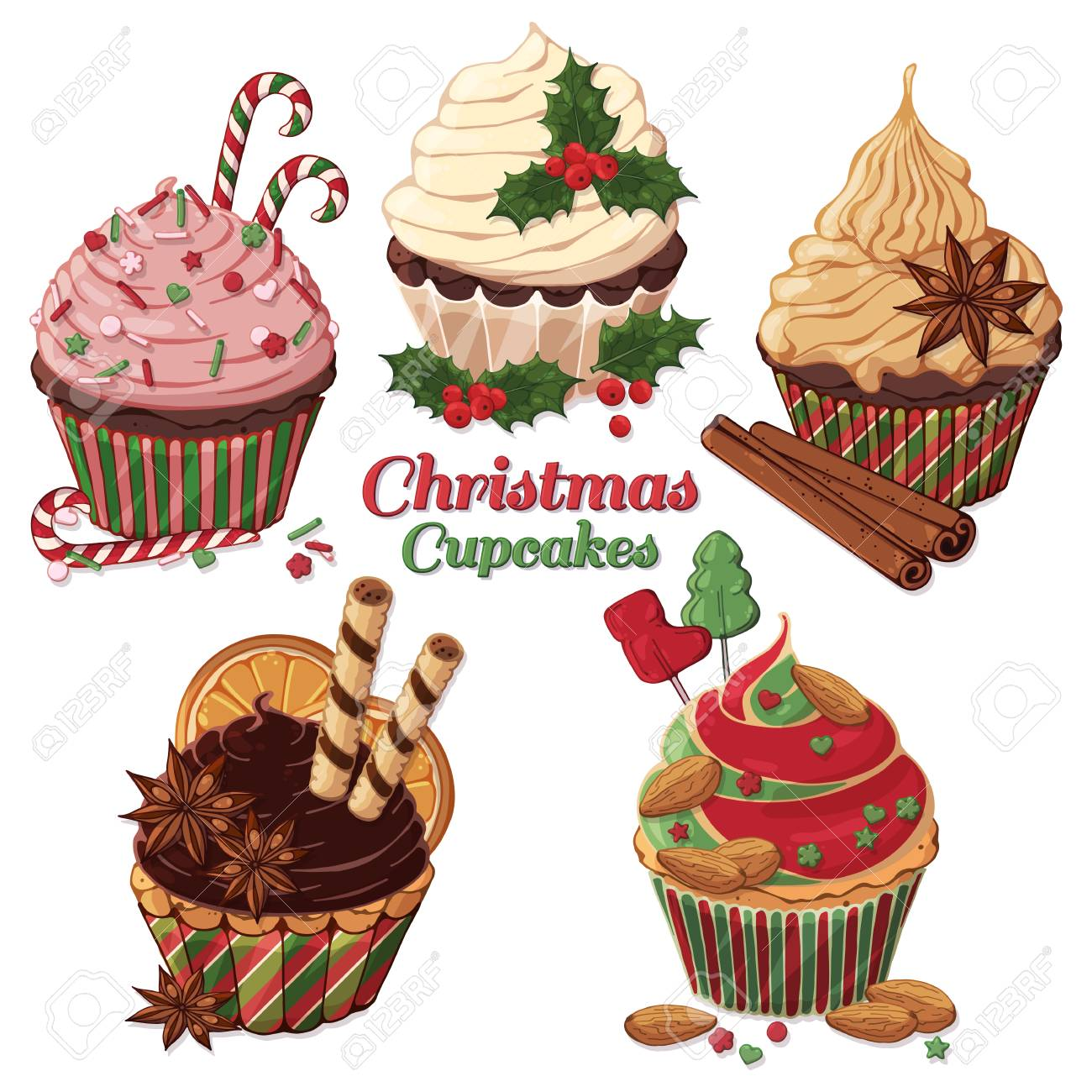 Christmas Sweets.Group Of Vector Colorful Illustrations On The Christmas Sweets