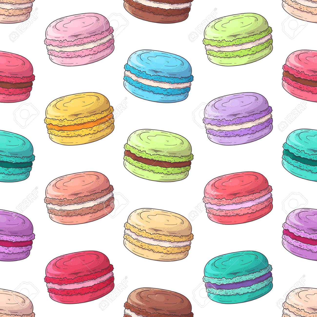 Vector hand drawn pattern. Realistic french dessert - macaroons. Each object can be changed and moved for your design. - 130967082