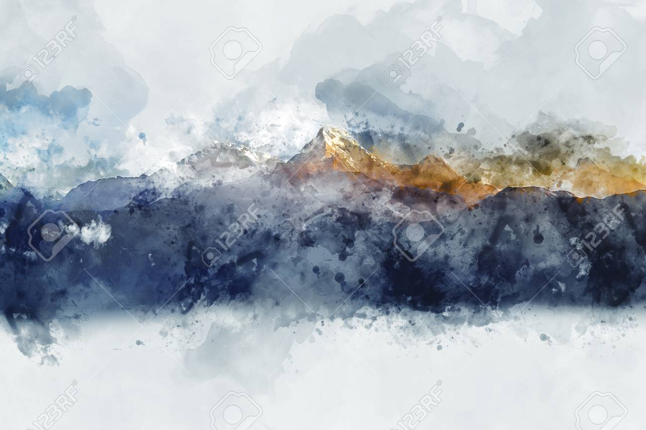 Abstract mountain ranges in morning light, digital watercolor painting - 69868398