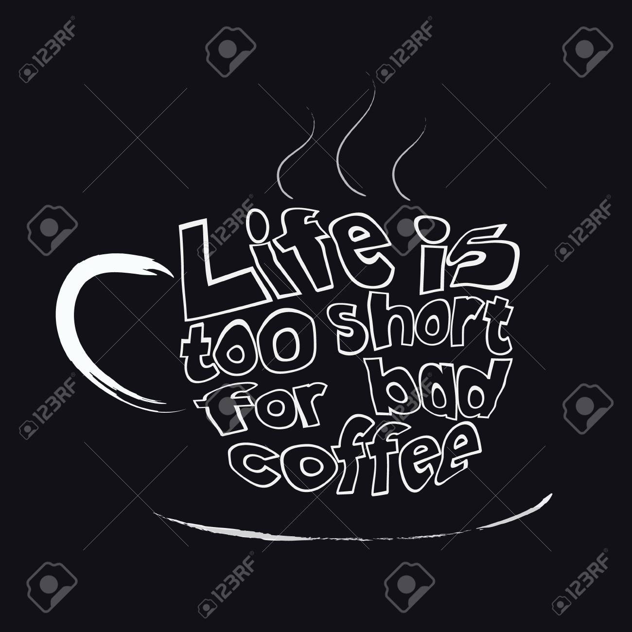 Quote Lettering Phrase Of Life Is Too Short For Bad Coffee White