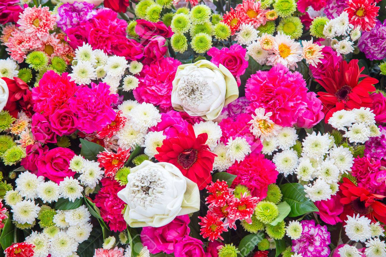 bouquets flower colorful background bunch flowers stock photo