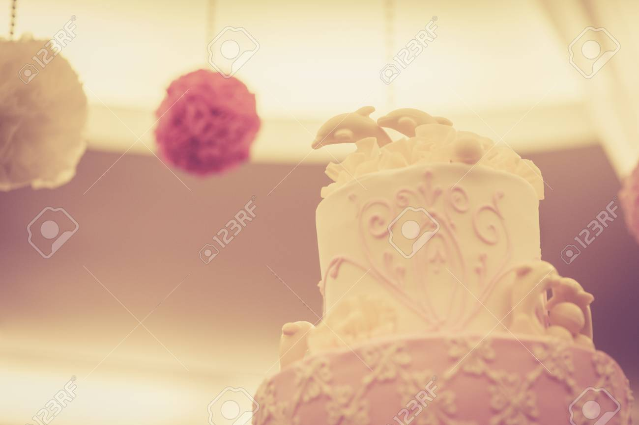 Beautiful Vintage Cake For Wedding Reception Stock Photo, Picture ...