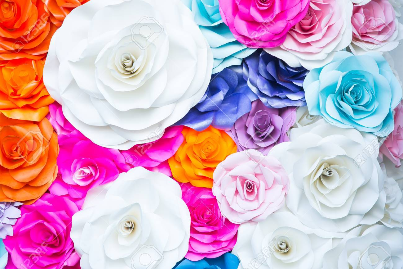 Abstract Wallpaper Rainbow Colorful Rose Flower Paper Background