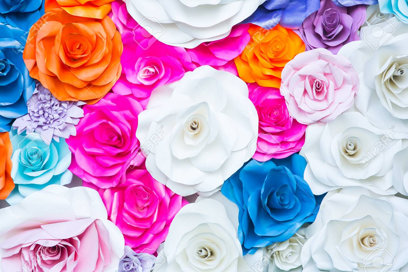 Abstract Wallpaper Rainbow Colorful Rose Flower Paper Background Stock Photo Picture And Royalty Free Image Image