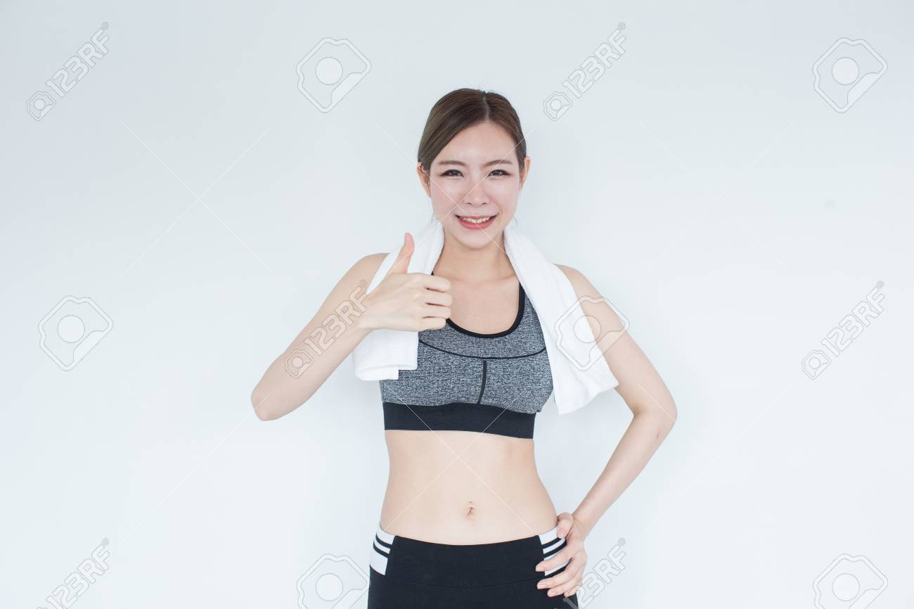 14e86e54e12fd Young Fitness Asian girl ware sports bra with copy space Stock Photo -  78113697