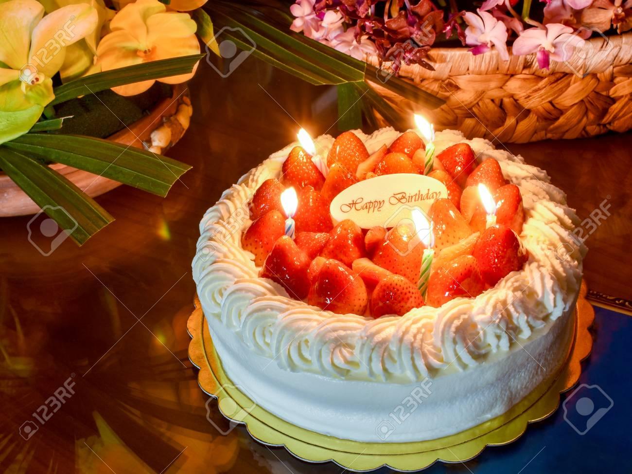 Stupendous Candles Light On Strawberry Birthday Cake So Delightful Stock Funny Birthday Cards Online Overcheapnameinfo