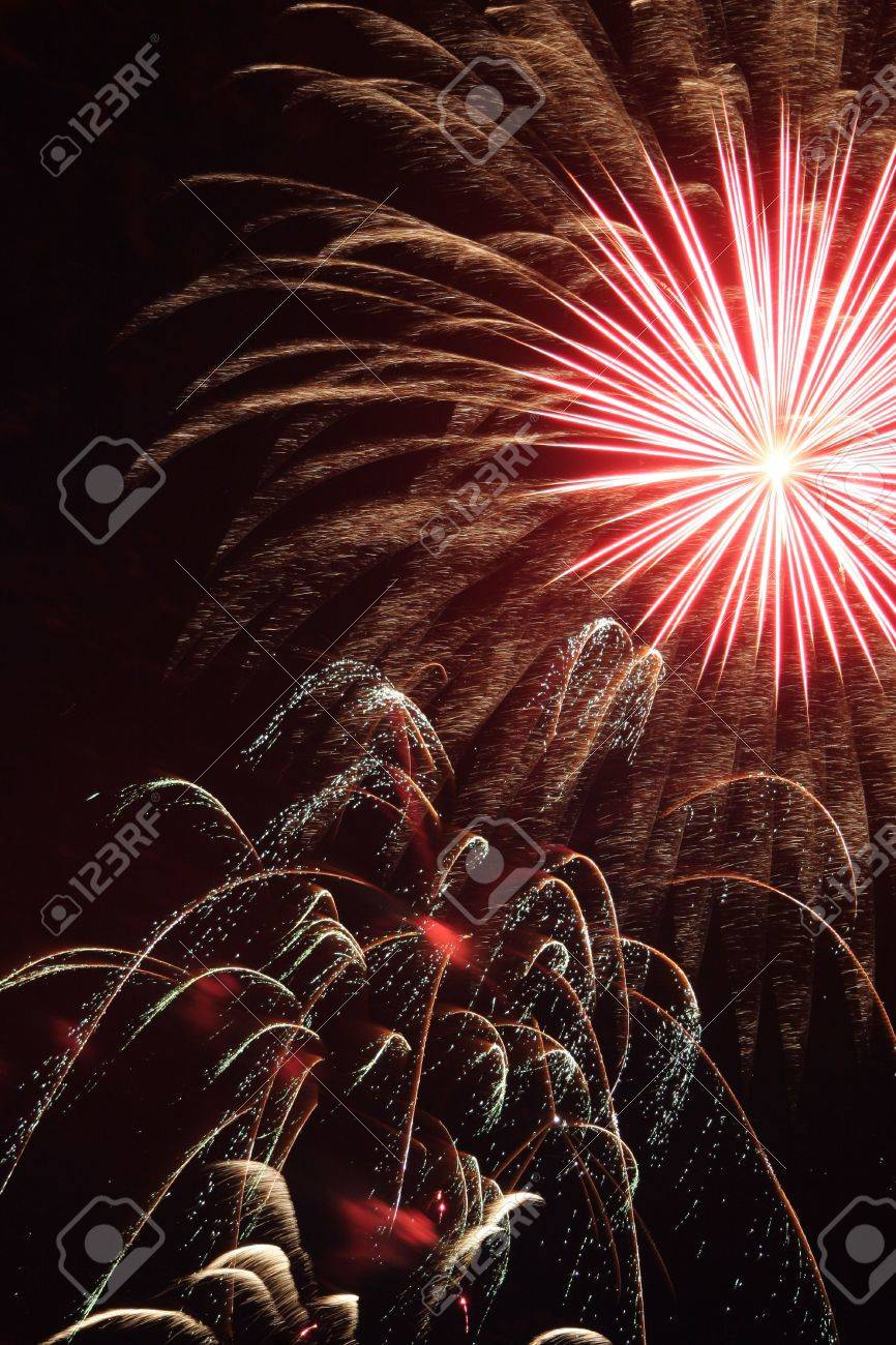Fireworks display. Could be used for New Years Eve, Fourth of July, or any type of celebration or congratulations. Stock Photo - 3297443