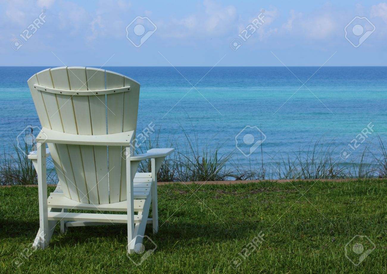Adirondack chair beach - Adirondack Chair Beach Chair With Ocean View Stock Photo