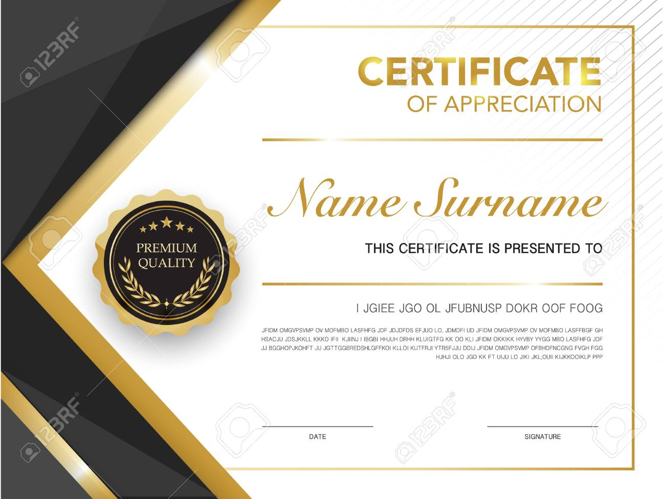Diploma Certificate Template Black And Gold Color With Luxury