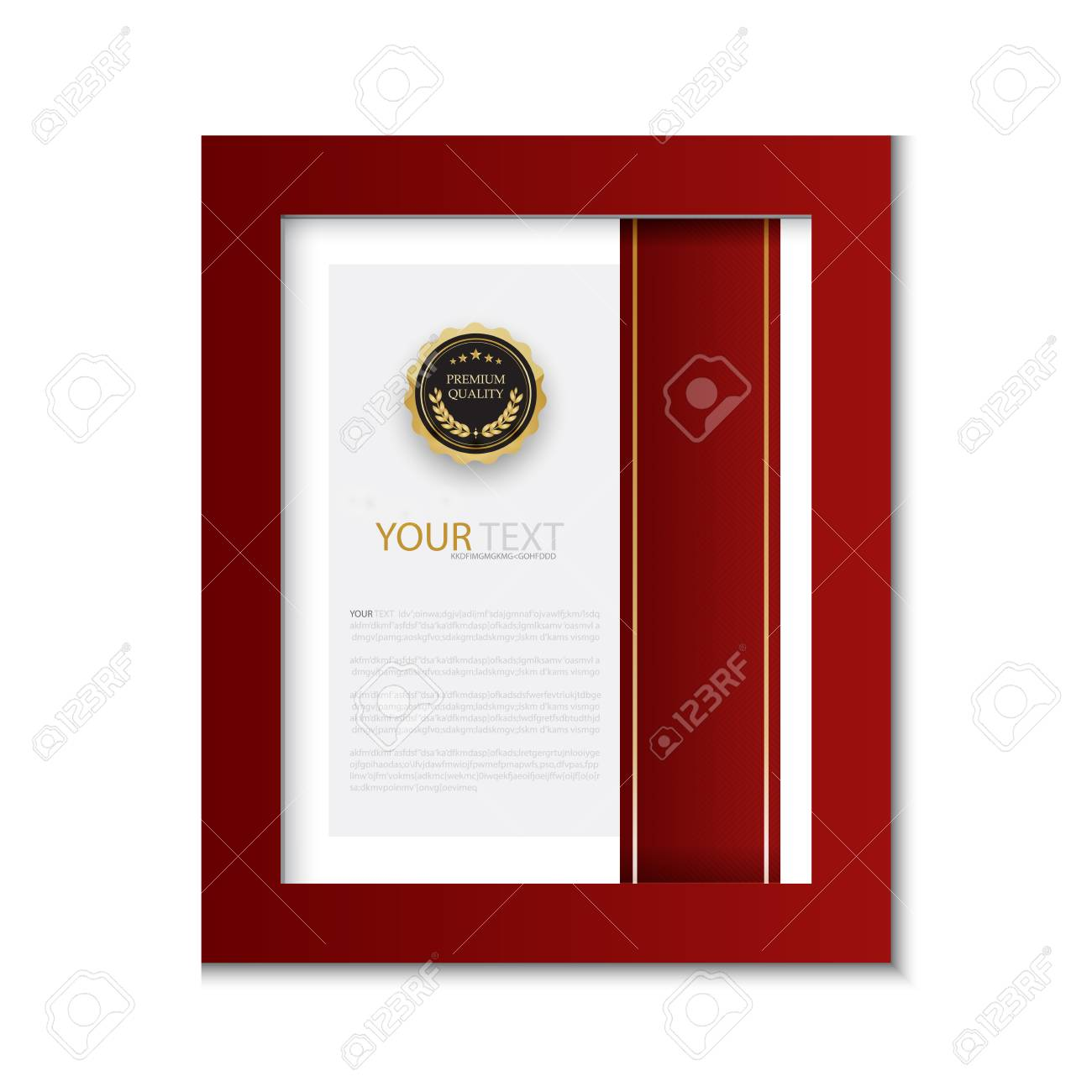 Diploma Certificate Template Red And Gold Color With Luxury And