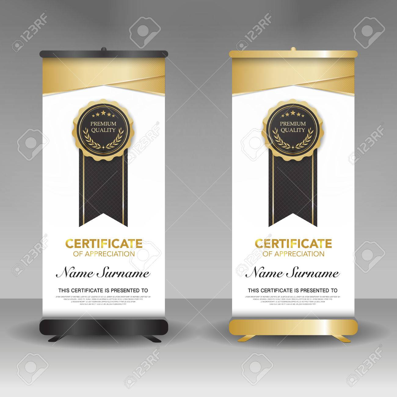 A Diploma Certificate Template Roll Up Banner Stand Model, Black ...