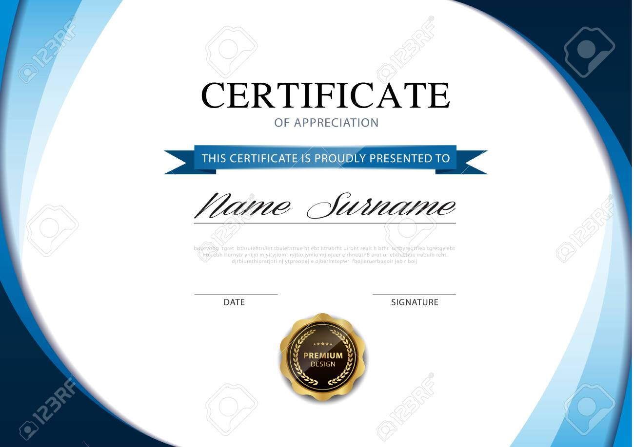 diploma certificate template blue and gold color with luxury and modern style vector image. - 146397591