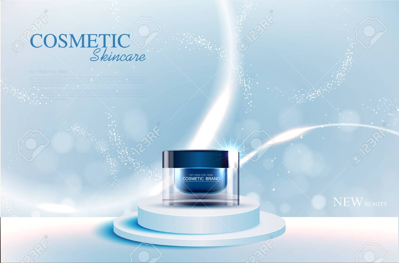Hydrating facial skincare for annual sale or festival sale. silver blue cream mask bottle isolated on glitter particles background for product presentation. Graceful cosmetic ads, Vector illustration - 148001709