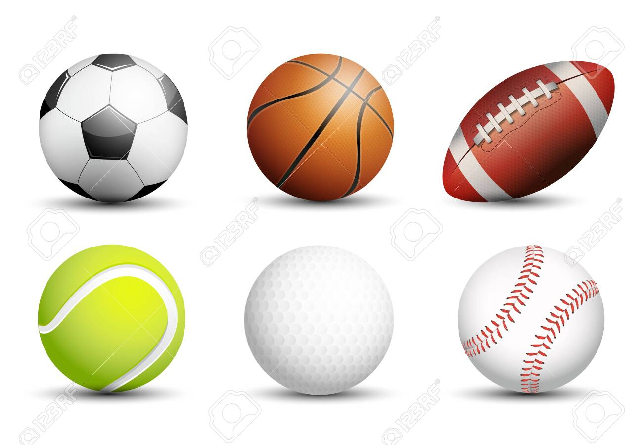 Soccer, Basketball, American football, Tennis, Golf and Baseball as healthy recreation and leisure fun activities for team and individual playing for health vector design. - 149714605