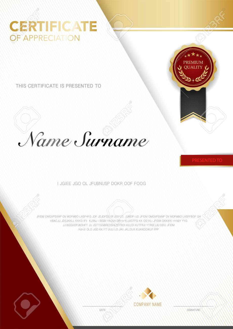 diploma certificate template red and gold color with luxury and modern style vector image, suitable for appreciation. Vector illustration. - 149776576