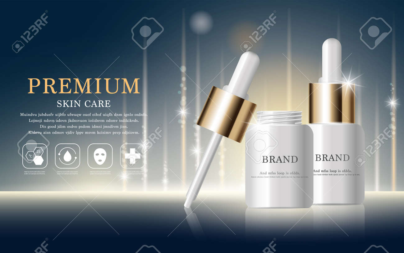 Hydrating facial serum for annual sale or festival sale. silver and gold serum mask bottle isolated on glitter particles background. Graceful cosmetic ads, illustration. - 155472234