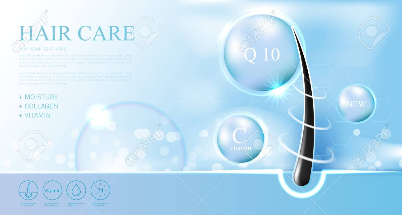 Hair care products, prevent split ends serum shampoo, cosmetics concept, vector. - 155860297