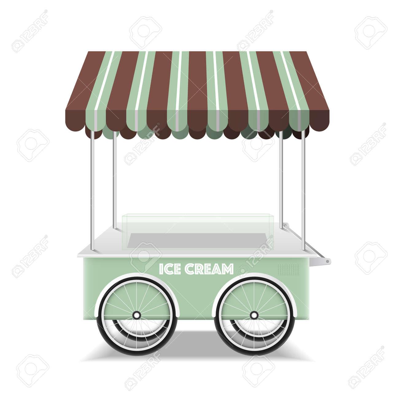 Ice cream cart on white background vector design. - 159142933