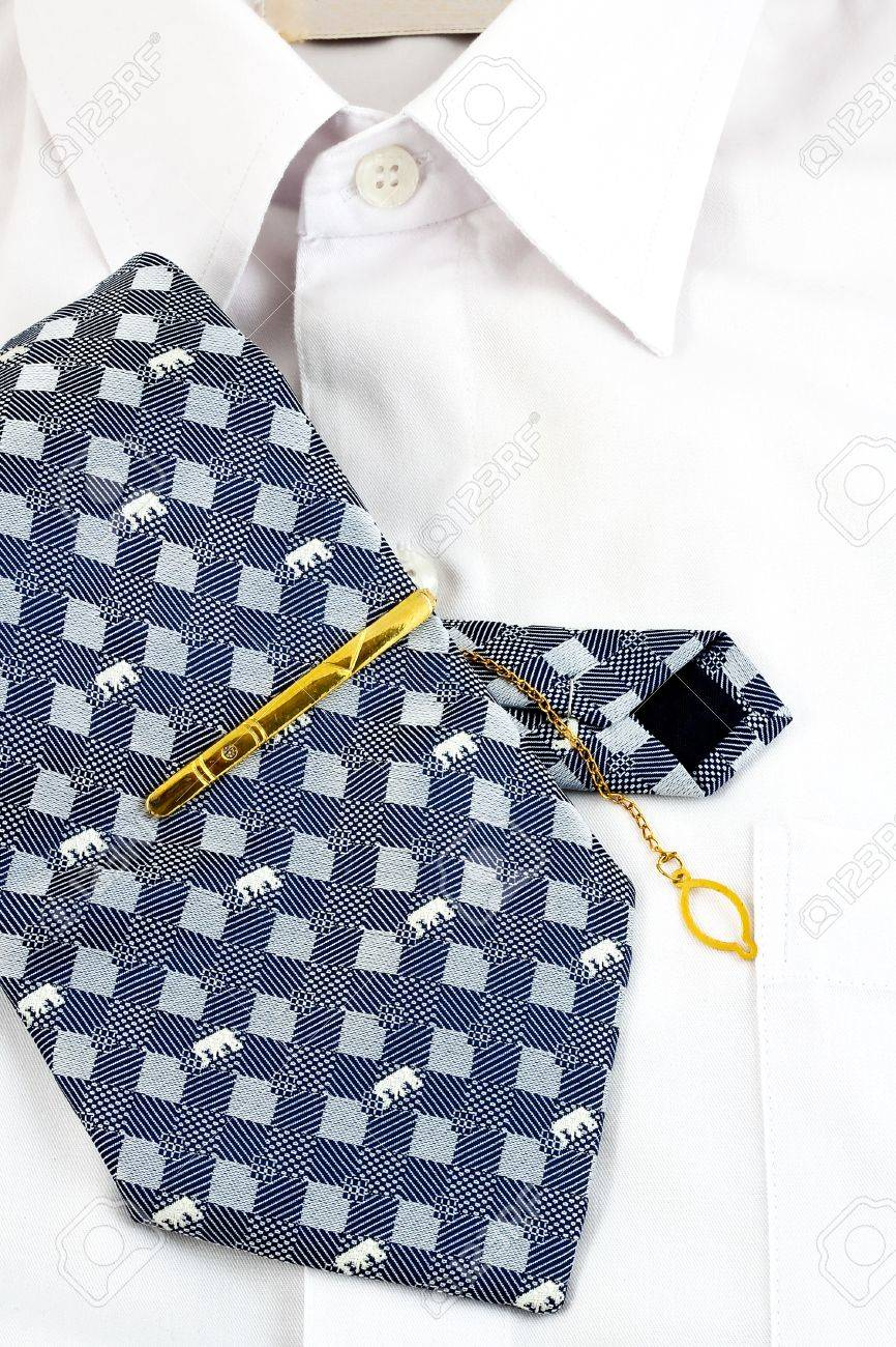 A necktie pin and white shirt for business man Stock Photo - 9944811