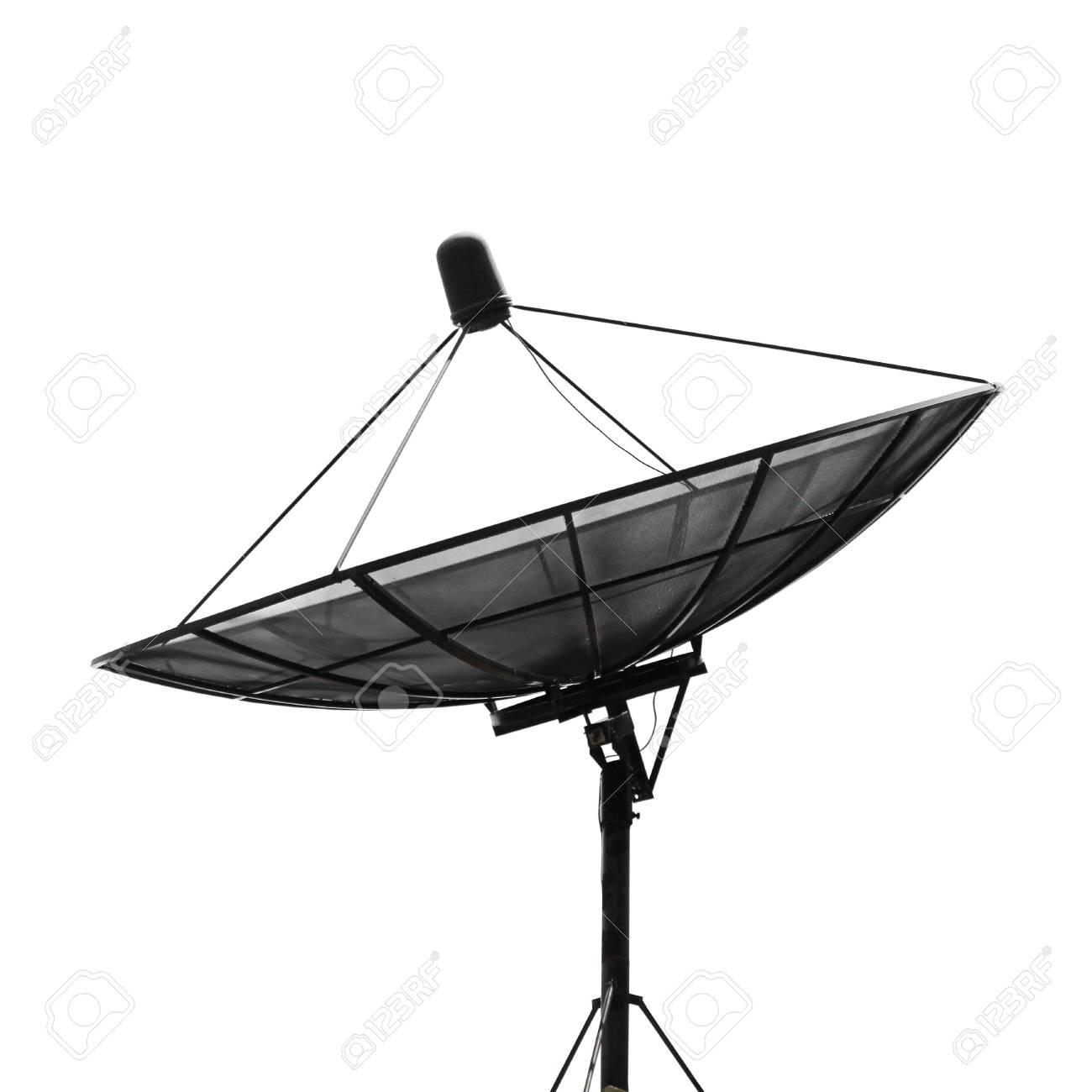 antenne parabolique pour la communication sur fond blanc banque d
