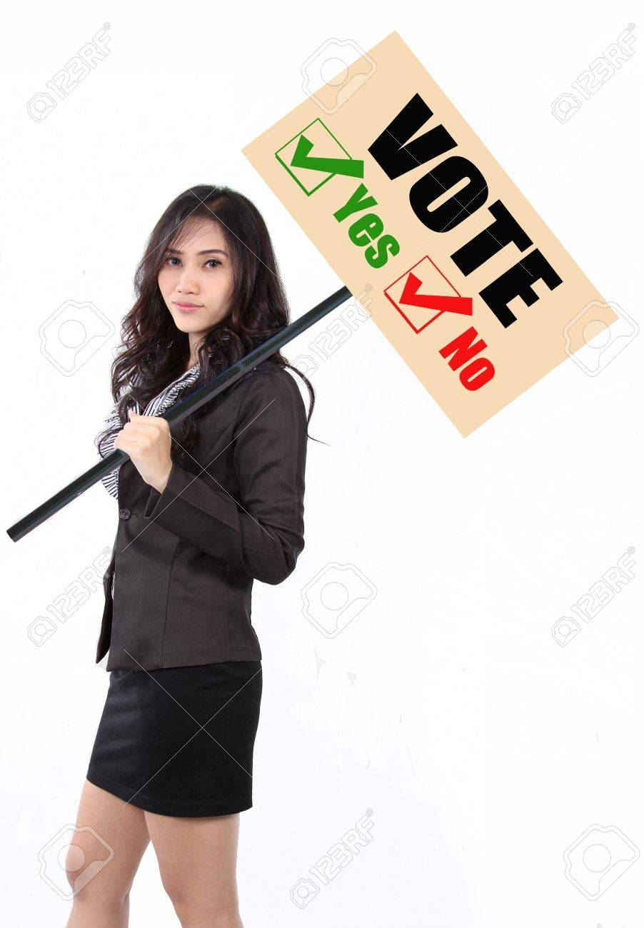 woman holding vote sign to calling people goto vote Stock Photo - 15616317
