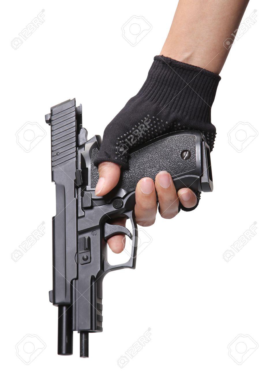 woman holding her pistol for loading ammunition on white background Stock Photo - 16432625