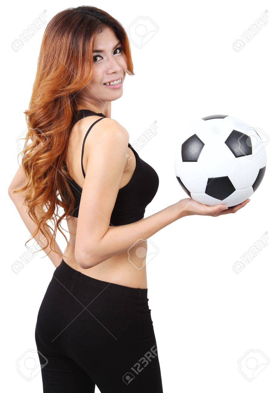 Image of woman holding a football on right hand and white background Stock Photo - 18212454