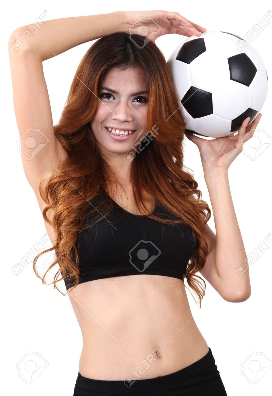 Image of woman holding a football on her hand and white background Stock Photo - 18212458