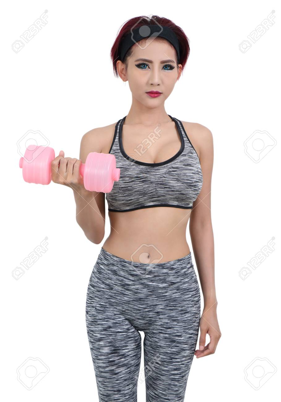young asian woman in fitness clothes and holding dumbbell Stock Photo - 78840053
