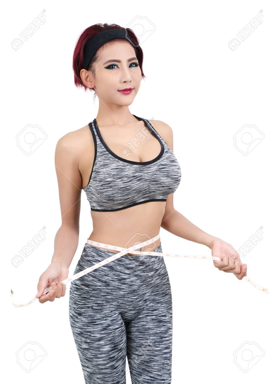 young asian woman in fitness clothes and measuring tape Stock Photo - 78927346