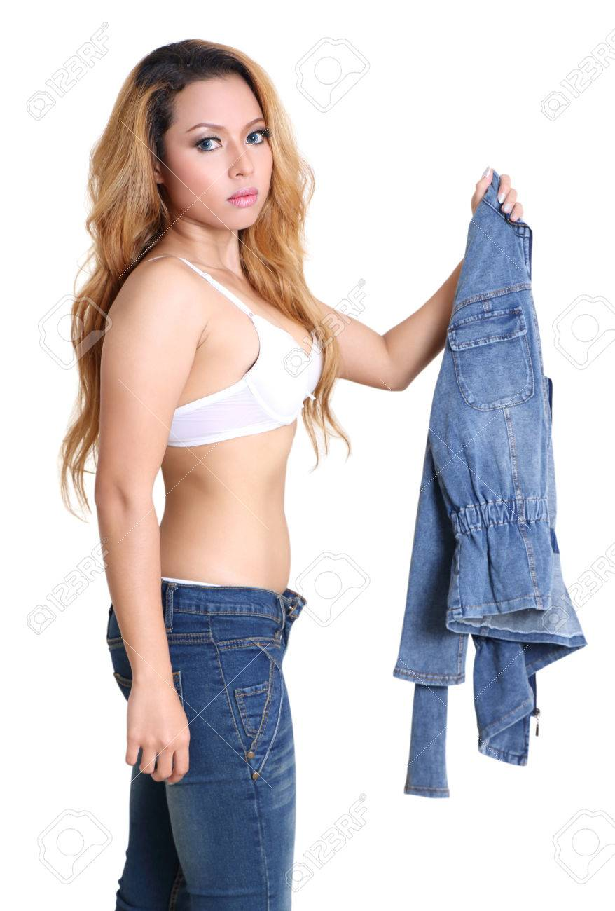 portrait young woman white bra and jeans fashion with white background Stock Photo - 79966691