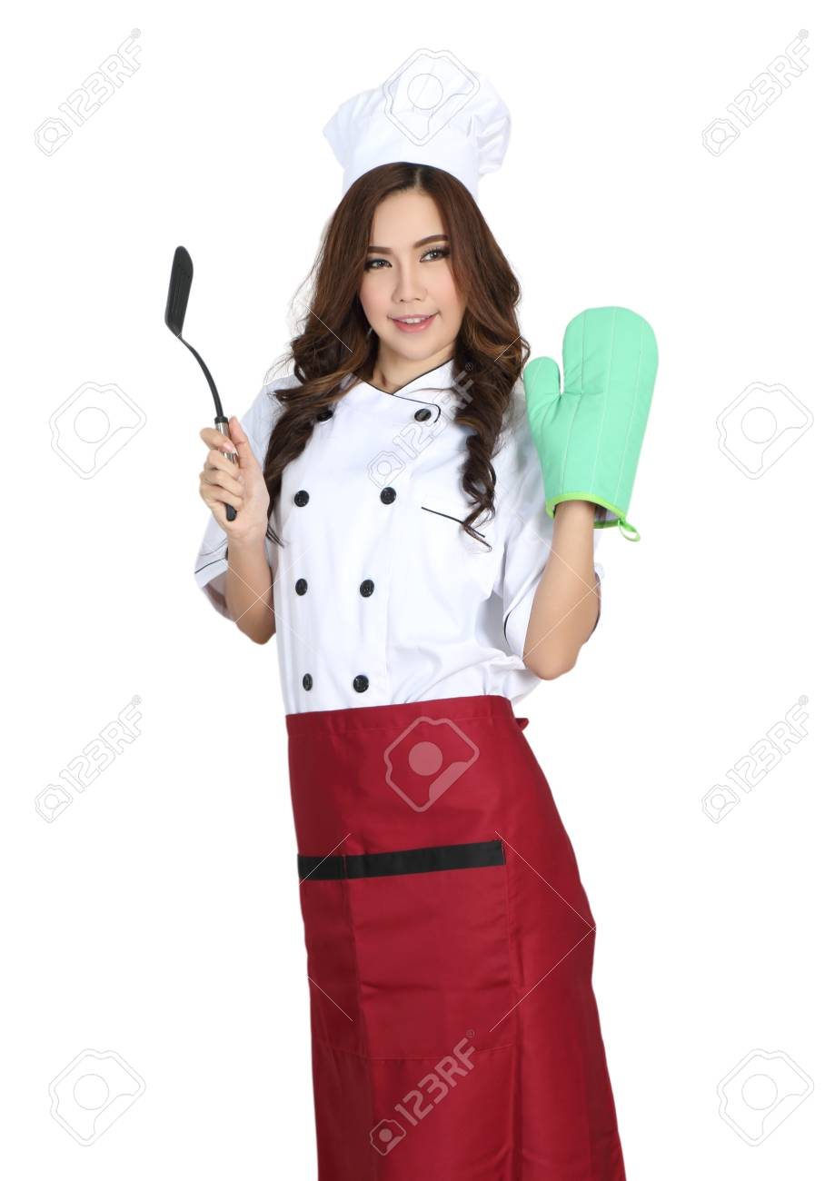 young woman chef in chef uniform with white hat Stock Photo - 80385215