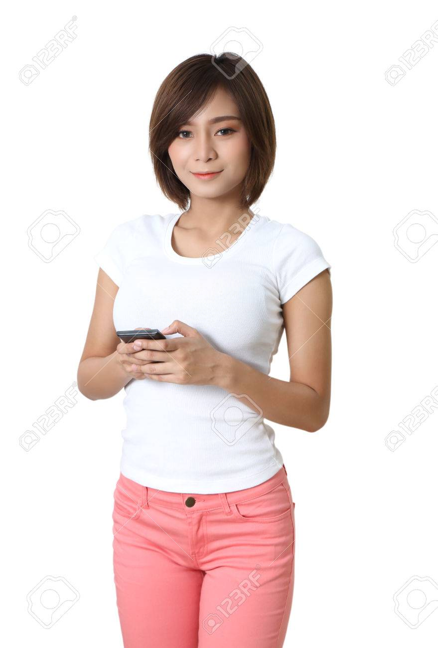 beautiful young asian woman holding smart phone on hand Stock Photo - 86438206
