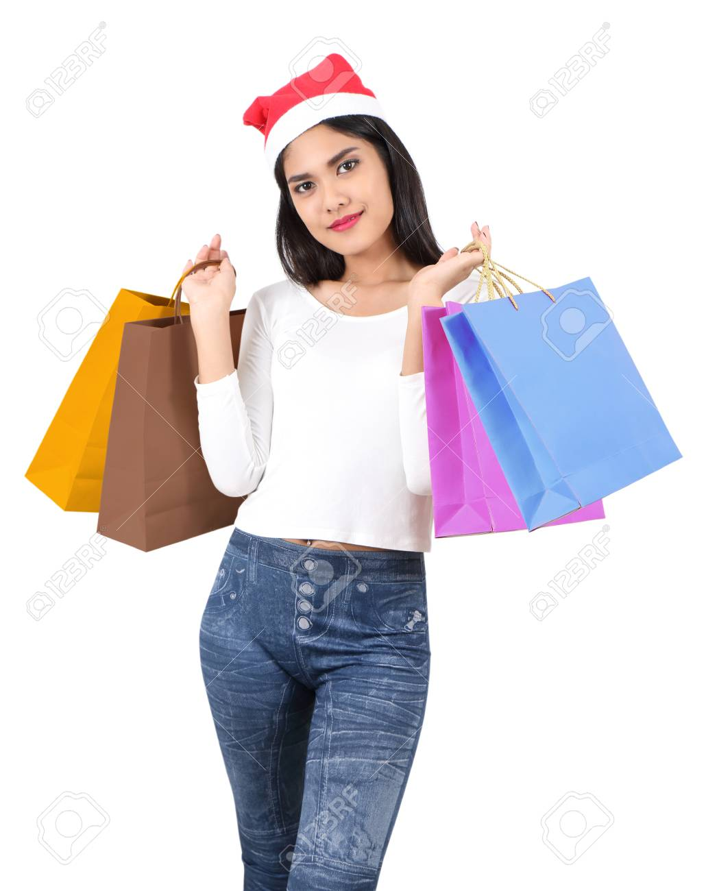 beautiful asian woman with red hat holding shopping bag for christmas Stock Photo - 91301933