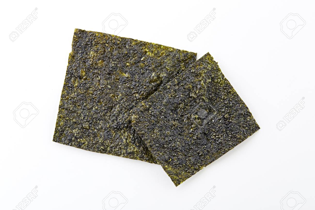 Crispy and dry seaweed isolated on white background - 65724744