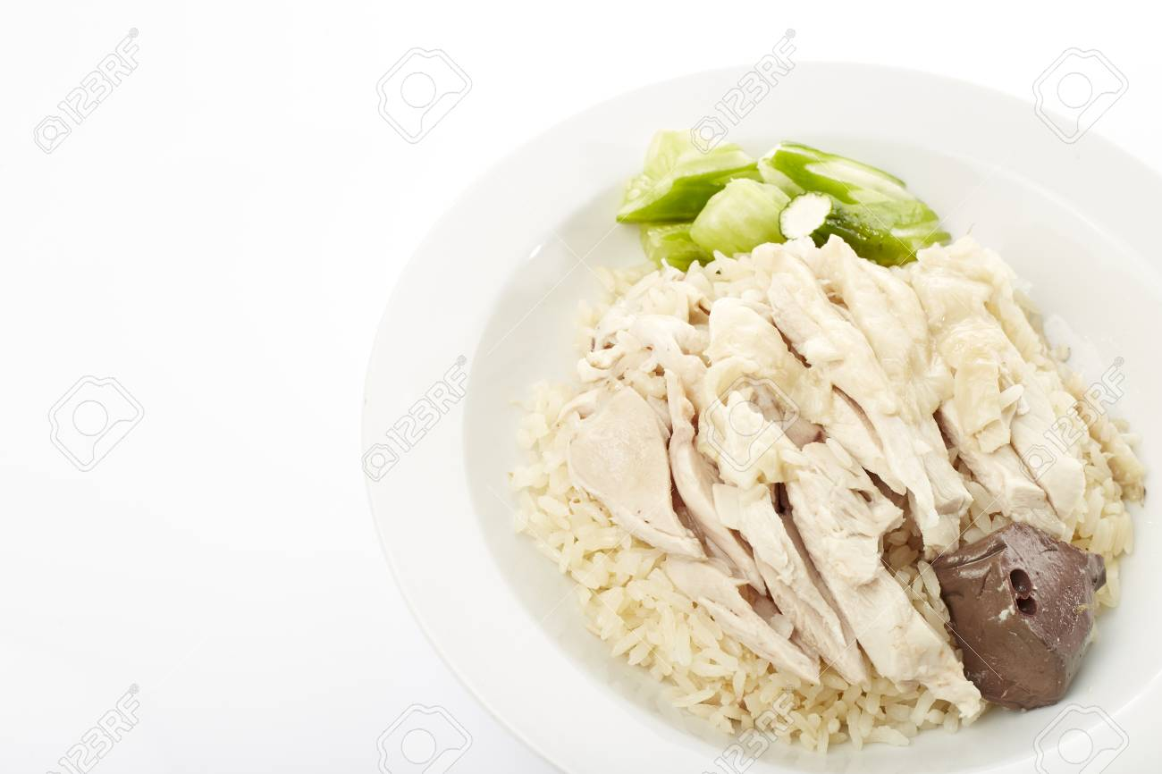 Steam Chicken With Rice Isolated On White Background