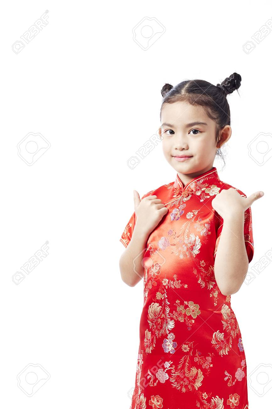 360d56909a7f Little asian child in chinese traditional dress, Chinese New Year Stock  Photo - 92983436